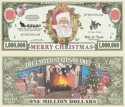 Merry Christmas Million Dollar Bill Play Funny Money Novelty Note +FREE SLEEVE