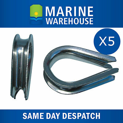 5X 8mm Stainless Steel Thimble - Boat Marine Spliced Rope Thimble 107030/5