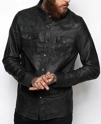 Mens Shirt Jacket Black Real Soft Genuine Lambskin Washed Waxed Leather Shirt