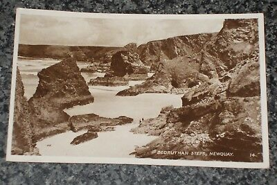 Bedruthan Steps  Newquay Cornwall  1949  Photo Postcard Vintage Vgc