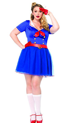 Leg Avenue Women's Plus-Size 2 Piece Ahoy There Honey Sailor Costume, Blue, 1X/