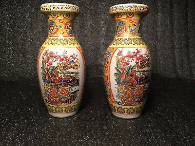 """Twin Set Highly Decorated and Colorfull Ceramic Chinese 6"""" Flower Vases"""