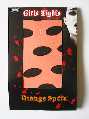 Girls Halloween Tights Orange Black Spots Age 7-10 years Kid Party Witches