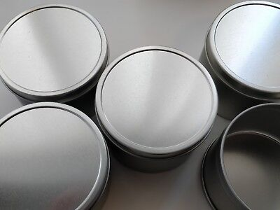 5x Silver Tins With Seamless Solid Lid + 5 free pre waxed wick's