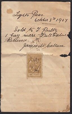 Australia 1907 hand-written invoice/receipt for a horse, with S.A. duty stamp