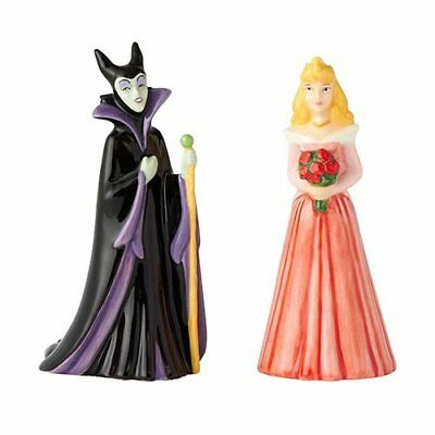 Sleeping Beauty Aurora and Maleficent Salt and Pepper Shaker Set-New in Box