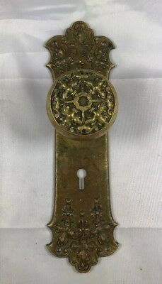 Eastlake Victorian Door Knob And Door Plate — Norwalk Lock Co ~1899 Brass