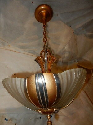 Ca. 1930s Streamlined Art Deco 3-Light Slip Shade Chandelier