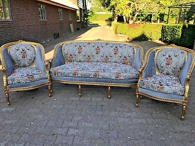 Antique Sofa/settee With Two Chairs In French Style.