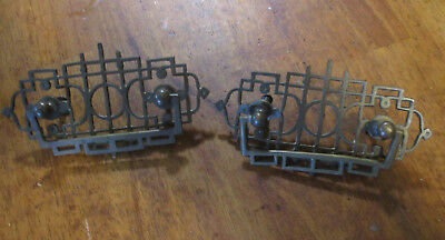 Pair Ornate Antique Victorian Solid Brass Pulls Drawer Handles