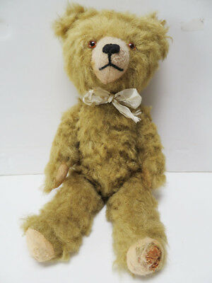 Vintage Mohair Jointed Teddy Bear Glass Eyes Germany