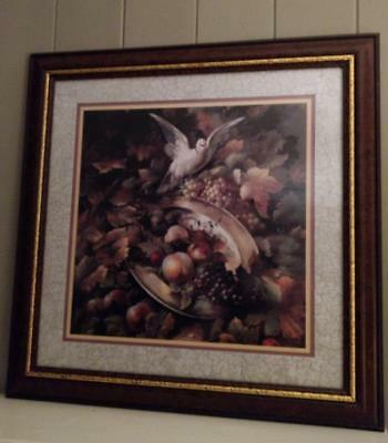 Homco Home Interior Vintage Fruit/Grapes/Dove Picture