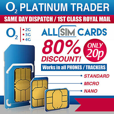 2 x O2 Sim Card - 2G/3G/4G Sim Card - Pay As You Go / PAYG – Standard Micro Nano