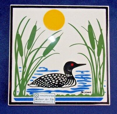 "COMMON LOON ART TILE by BESHEER (BEDFORD, NH) 6"" x 6"" Hand Painted Trivet"