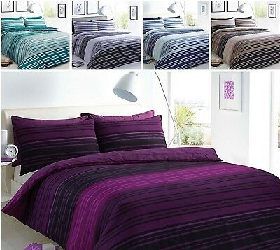Kohsar Printed Banded Stripe Polycotton Duvet Quilt Cover Bedding Set Pillowcase