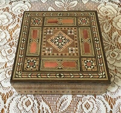 Vintage Marquetry Inlaid Wood Box Made in Syria by SG Naassan Co. Handmade