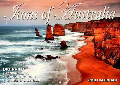 Icons Of Australia - 2019 Rectangle Wall Calendar 16 Months New Year Decor Gift