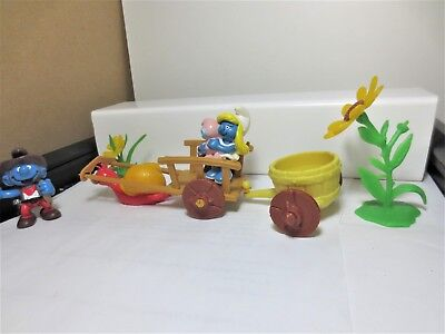 Playset snail wagon with smurf and smurfette and flowers  # 178