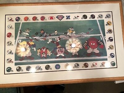 Looney Tunes NFL Limited edition, signed lithograph - 3 Yards and Cloud of Dust