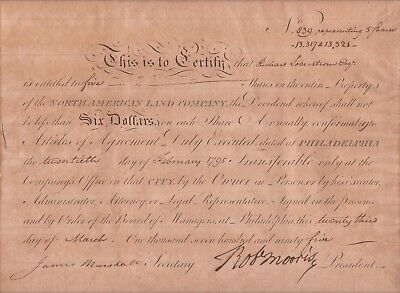 Robert Morris Signed Document Dated 1795, Signer Of The Contitution.