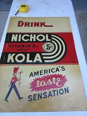 Vintage 1930's LARGE Nichol Kola Metal Embossed Sign Soda Cola Advertisement