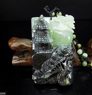 100% Natural Hand-carved Chinese Jade Pendant jadeite Necklace scenery 899C