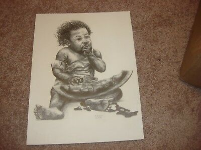 Black Americana Print Child Eating Watermelon By R. Foster 12/17/73