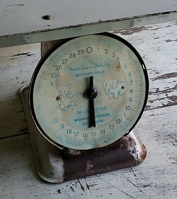 Vintage American Family Baby Scale 30 Lbs. Metal Tray Distressed Nursery Decor