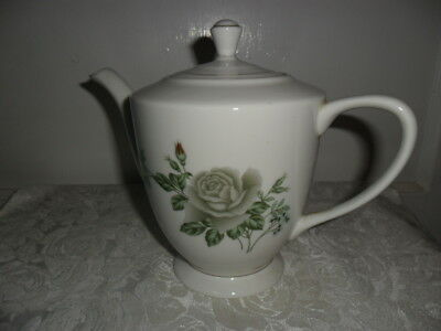 """Vintage Porcelain Chinese Teapot W Green Rose - 8"""" Tall- Unusual - Euc - Pretty!"""