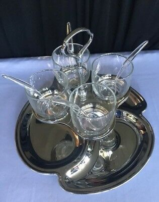 VTG Condiment Server Set, Carousel Caddy, Glass Cups,Chrome Tray & Spoons, 9 Pc.