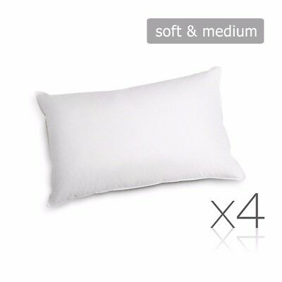 Set of 4 Family Pack Bed Pillows Soft Medium Cotton Cover 48X73CM @SAV