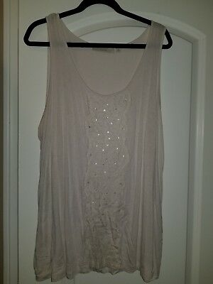 2bfd55d9b04561 Seyjor Women s Plus ivory stretch tank top 2X with sequin applique on front