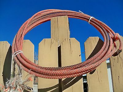 Used Western Decor Used Lariat Ranch Rope Approx 32 to 35 foot Orange Minors Pro
