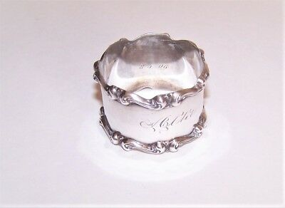 Dated 8-5-1906 STERLING SILVER Napkin Ring - Engraved Name ALTA, Scalloped Edge