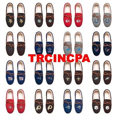 Forever Collectibles-NFL Team Color-Men's Moccasin Slippers-Pick Your Team-FREE