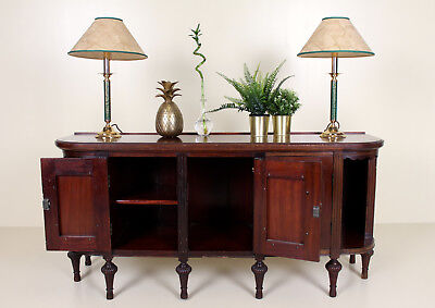 Antique Low Sideboard Mahogany French Carved Console Cabinet Shelving