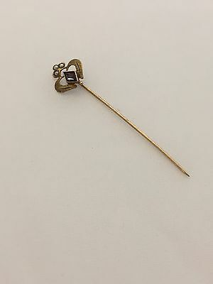 10k Yellow Gold Stick Pin, 3 Seed Pearls, Amethyst Stone