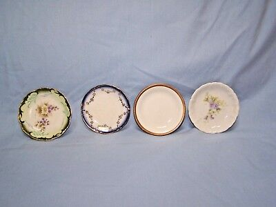Lot Of 4 Assorted Vintage Butter Pat Dishes W H Grindley & Co 1 Flow Blue?