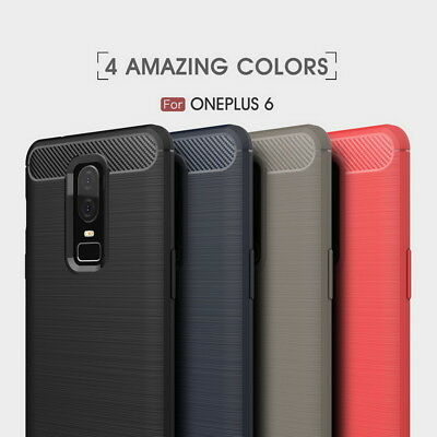 Shockproof Soft TPU Silicone Bumper Carbon Fiber Case For OnePlus 6 5 /6T 5T /3T