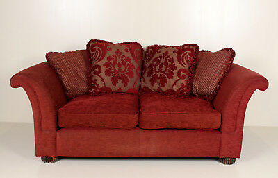 Sofa Red Large 2 Seater Antique Victorian Reproduction Scroool Chesterfield