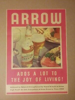 1934 Globe Brewery Arrow Beer Ad
