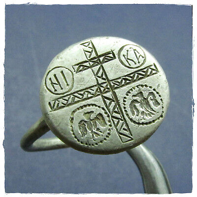 ** CROSS with two EAGLES ** ancient  SILVER BYZANTINE ring !!!