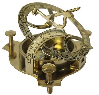 """Nautical Vintage Solid Brass 3"""" Working Sundial Compass Marine Gift item"""