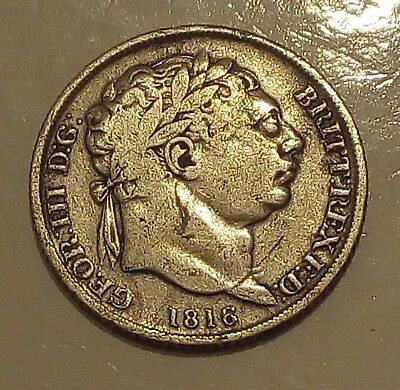 1816 George III Silver Sixpence - Great Britain 6 Pence - Good Detail - KM# 665