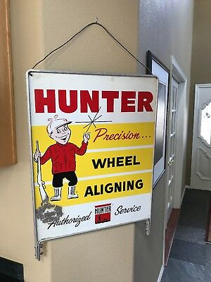 Vintage Hunter Wheel Alignment Advertising Metal Sign Original