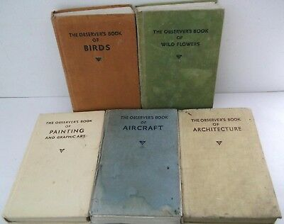 5 x OBSERVERS BOOKS Mixed lot Architecture Aircraft Painting Birds Wild Flowers