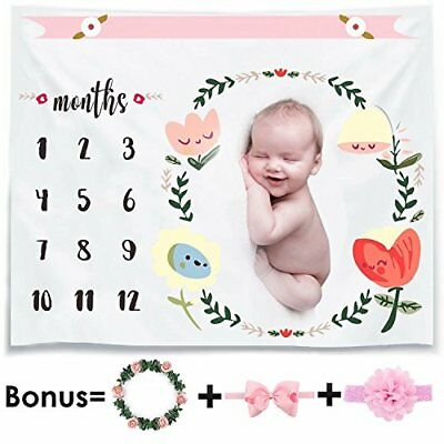 Monthly Baby Milestone Blanket Photo Props Shoots Backdrop for Newborn Boy Girl