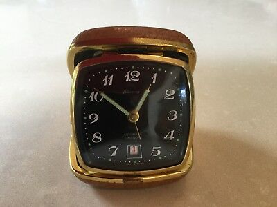 Vintage Blessing Wind Up Travel Alarm Clock Made In West Germany With Calendar