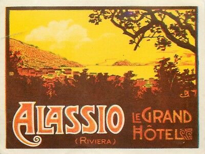 Le Grand Hotel ~ALASSIO - ITALIAN RIVIERA ITALY~ Gorgeous Old Luggage Label 1935