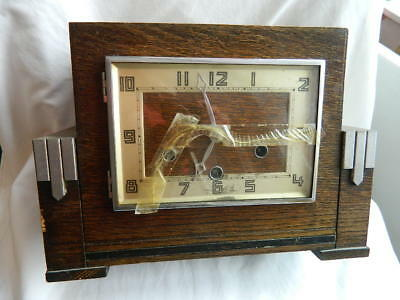 Antique Retro Art Deco  Clock  Project / Spares or Repair Untested